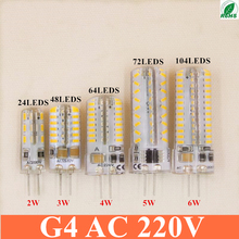 High power LED G4 BULB 24 48 64 72 104 led 3014 AC 220V corn bulb lamp Warm white / white 25-35 watt halogen replacement(China)