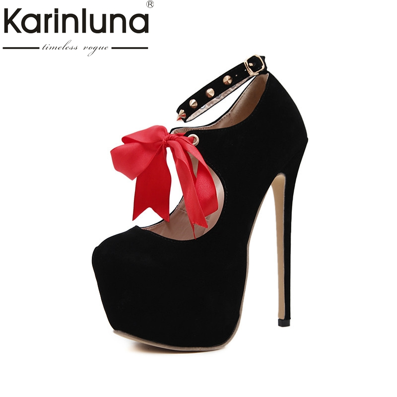 KarinLuna 2018 Spring Autumn Sexy Deep Pumps Round Toe Super High Heels Shoes Woman Big Size 35-40 Women Party Wedding Shoe<br>