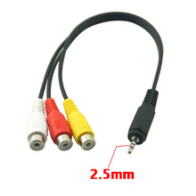 2.5mm Plug Male to 3 RCA Female Adapter Audio Video Composite Adapter Cable For AV Audio video LCD TV HDTV(China)