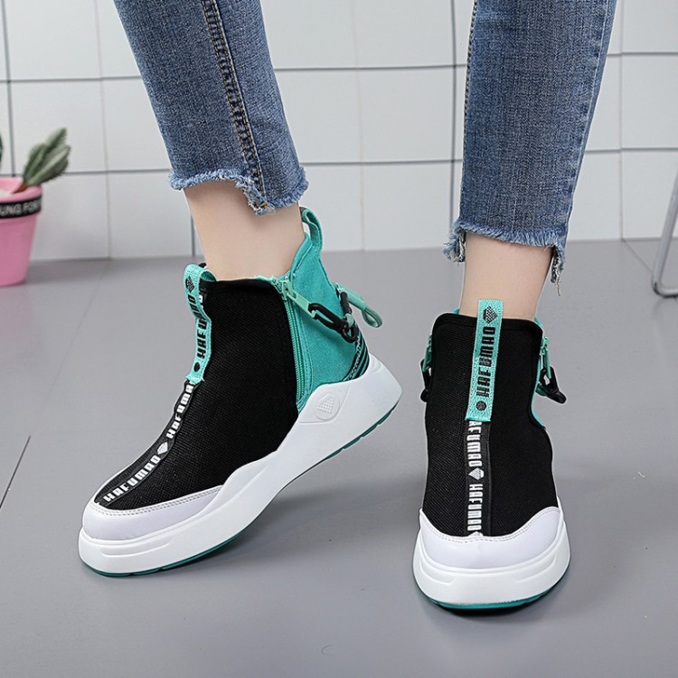 SWYIVY Flat Casual Sneakers Woman High-top Shoes Single 2019 Spring New Zipper Increased Black Fashion Canvas Sneakers Female