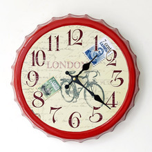 London Style Antique Bicycle Iron Wall Clock for Bar Restaurant Creative Beer Bottle Cups Wall Stickers Clocks Christmas Gifts