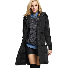 2016 New Wadded Jacket Female Thick Warm Hooded Long Padded Coats Women Black Wide-Waisted Winter Parkas For Women M-2XL LX395