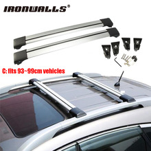 Ironwalls Car Roof Rack Cross Bar 93cm~99cm Top Luggage Cargo Carrier Anti-theft Lock System 150LBS For Nissan Honda Ford rav4(China)