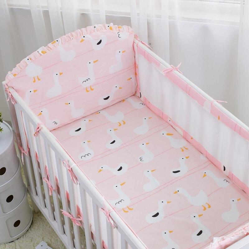 5pcs /set Kawaii Little Swan Breathable Crib Linens Air Mesh Bumpers Baby Cot Set Baby Bedding Protector Bumper Cotton Sheet <br>
