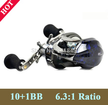 Free Shiping Bait Casting 6.3:1 Ratio Gear 11 BB Lure Reel baitcasting Left or Right Reel bait Low Profile  Fishing Tackle