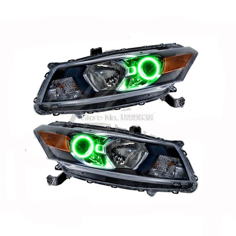 for Honda Accord Coupe RGB LED headlight halo angel eyes kit car styling accessories 2008 2009 2010<br>