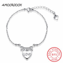 AMOURJOUX Romantic 925 Sterling Silver Big Heart With Clear cz Charm Bracelets For Women Silver 925 Bracelet Jewelry Best Gift