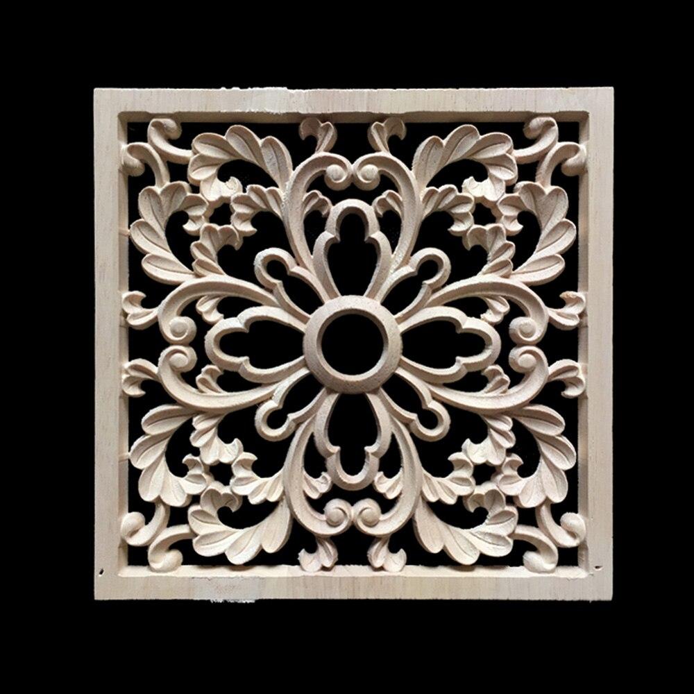 1 Piece Wood Applique Woodcarving Decal Furniture Wardrobe Door Decor Unpainted