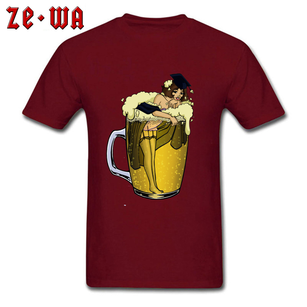 Man Top T-shirts pin up girl in beer Funny Tops Tees Pure Cotton Round Neck Short Sleeve Design T Shirt Summer/Autumn pin up girl in beer maroon