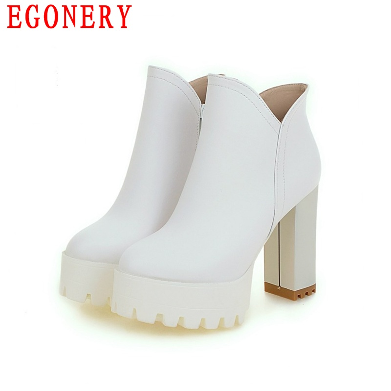 Faux Leather Square High Heels Platform Non-Slip Bottom Round Toe Block Chunky Gladiator Roman Riding Boots Women Shoes<br><br>Aliexpress