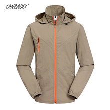 LANBAOSI Outdoor Hiking Hooded Jacket for Men Sun Protection UV Windproof Lightweight Army Camping Trekking Traveling Jackets