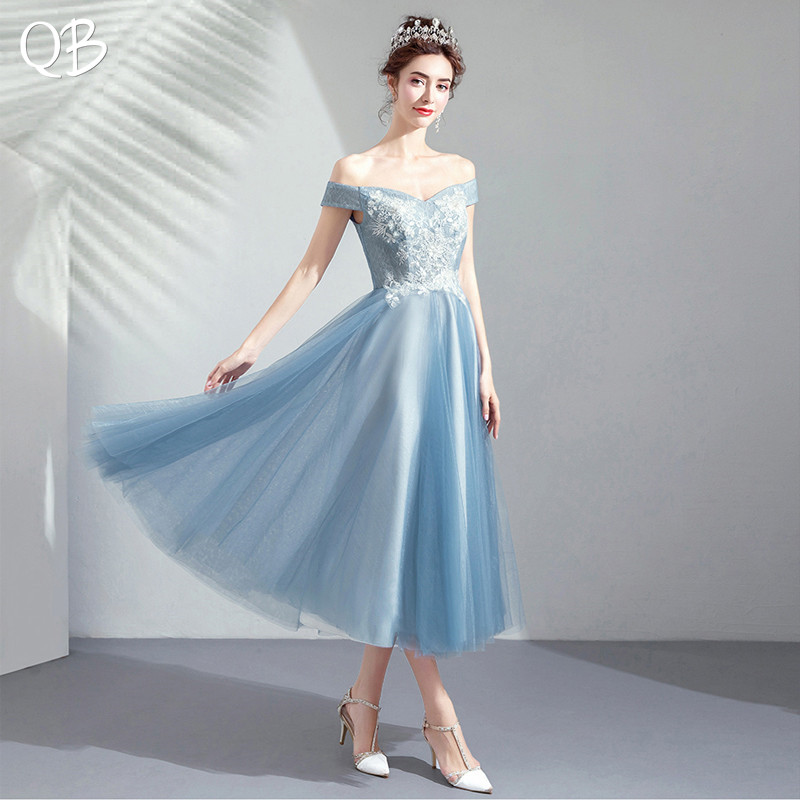 Blue A-line Tea Length Tulle Lace Appliques Elegant Formal Short Evening Dresses 2019 New Fashion Bride Party Prom Dress XK206