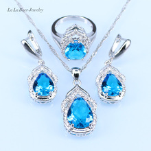 L&B Silver color 925 logo Australia Blue crystal White zircon Jewelry Sets for Women Engagement Earrings/Ring/Necklace/Pendant(China)