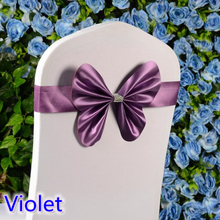 Colour Violet wedding chair sash mini style butterfly bow tie lycra band stretch bow tie ribbon chair decoration wholesale(China)