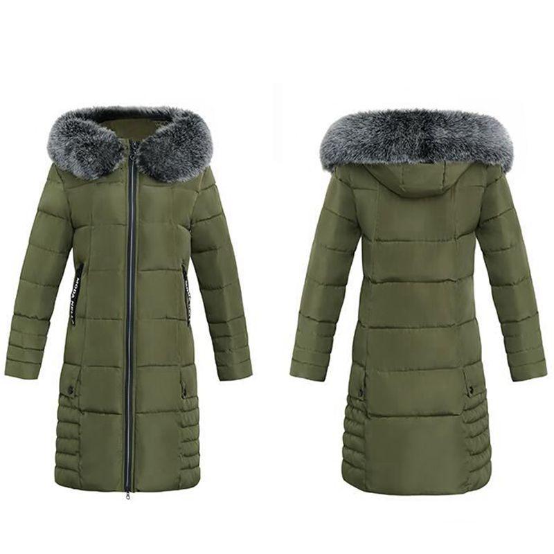 Female Long Winter Down Jacket Slim Overcoat Fur Hooded  Casual Long Sleeve Cotton Women CoatÎäåæäà è àêñåññóàðû<br><br>