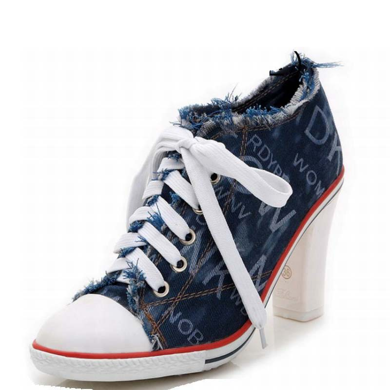2016 new arrival fashion women print denim thick high heels shoe breathable canvas high heeled casual shoes lace up ladies pumps<br><br>Aliexpress