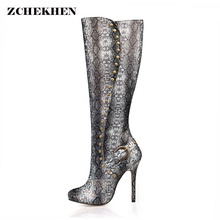 Serpentine Leather Long Dance Boots Women Rivets High Heel Round Head Boots Women Over The Knee Thigh High Boots(China)
