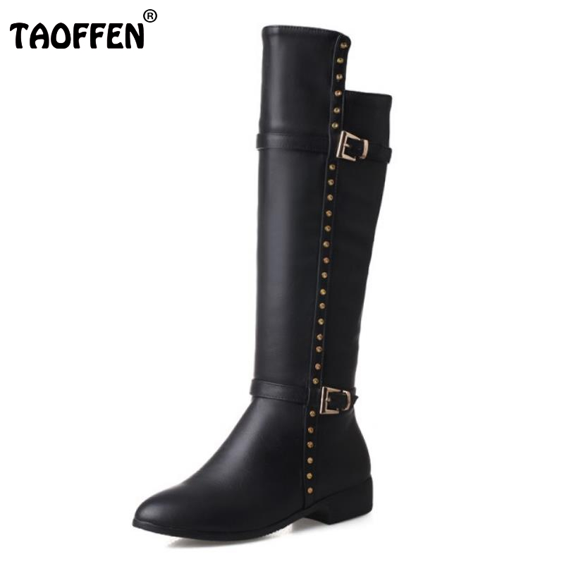 New Woman Pointed Toe Knee Boots Fashion Rivets Flat Knight Boot Brand Quality Female Buckle Style Shoes Footwear Size 33-43<br>