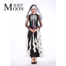 MOONIGHT Skull Muerte Costume Day Of The Dead Skeleton Mini Dress Women's Halloween Ghost Bride Fancy Dress