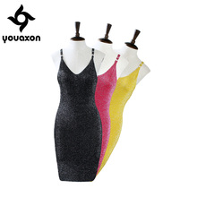 1287 Youaxon Women`s Sexy Knitted Strap Paillette Backless Pencil Dresses Bodysuit For Women Dress