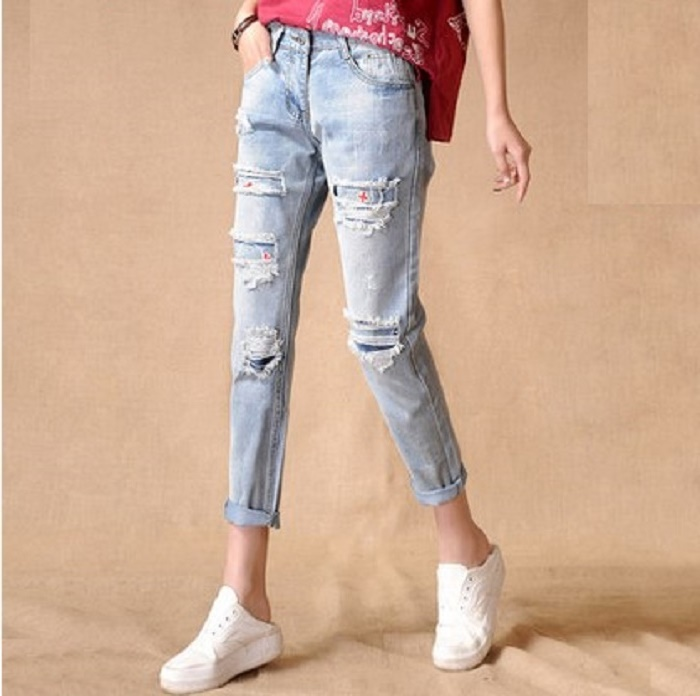 31 plus size denim jeans pants women spring autumn 2017 bermuda feminina hole jeans loose haroun pants thin female A0914Одежда и ак�е��уары<br><br><br>Aliexpress