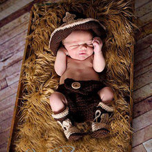Newborn Baby Gift Boy Cowboy Hat Pants Boots Set Baby Photography Prop Crochet Knitted Costume