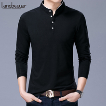 Polo-Shirt Clothing Slim-Fit Long-Sleeve Mens New-Fashion Casual Mandarin-Collar Hot-Sell