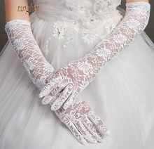 Cheap Lace Wedding Gloves White Black Ivory Red Elbow Length Finger Bridal Gloves Long One Size Wedding Accessories(China)