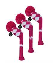 Golf Fairway Wood Club Head Covers, 3 Pieces Packed, White Argyle, Acrylic Yarn Double-Layers Knitted, with Rotatable Tags