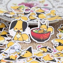 40 pcs for cute yellow little fox animal emoticons stickers laptop motorcycle skateboard cellphone sticker album toy DIY sticker(China)