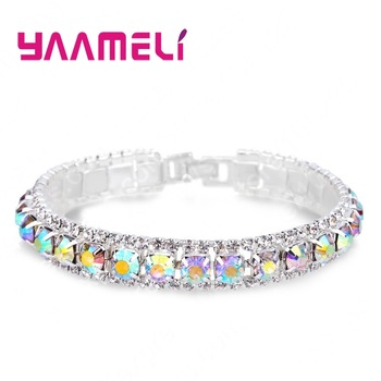 YAAMELI Top Sale 925 Sterling Silver Bracelets Full AAA Zircon Austrian Crystal Femme Women Link Chain Jewelry Bangles 14 Colors