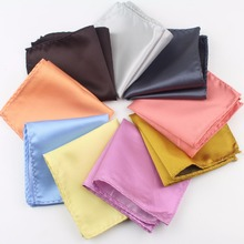 Solid Color Vintage Fashion Party Men's Handkerchief Groomsmen Men Polyester Plaid Pocket Square Hanky Handkerchiefs No.21-29