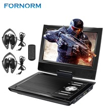 FORNORM 9 inch Mini DVD Player 2800mAh Portable DVD Player CD Player with Dual Headphones Remote Control Carry Case AC Adapter(China)
