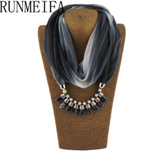 [RUNMEIFA] 2017 Brand new style Silk scarves Geometric patterns scarf, pendant and gem scarf bullet scarf(China)