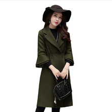 high quality 2017 autumn winter new fashion wool coat long section Slim coat Women lapel Speaker sleeves Solid color wool coat 7(China)