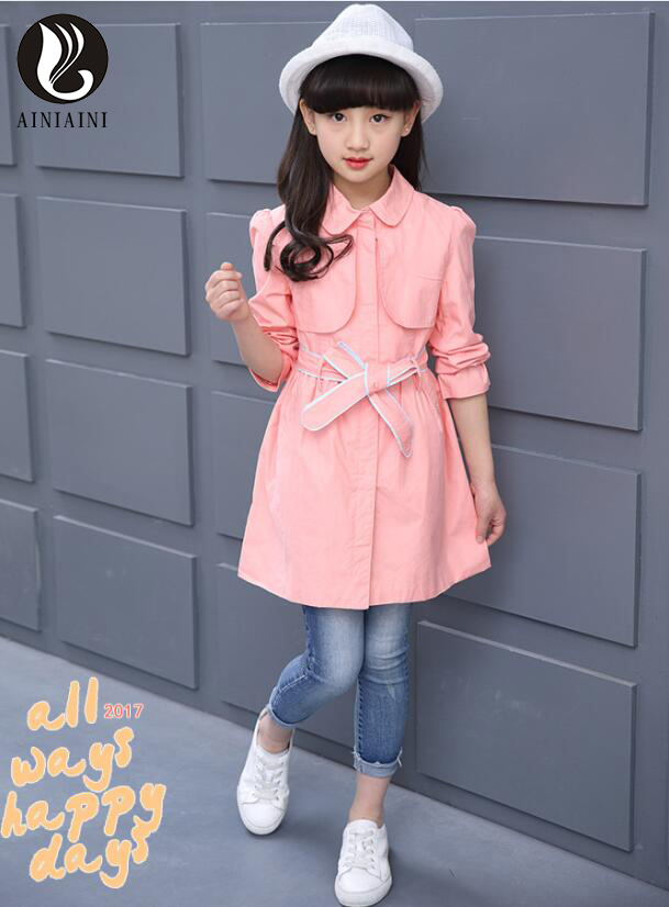 2017 Spring Autumn Turn-Down Collar Single Breasted Long Girls Coat Waistband With Full Thin Section Children Windbreaker AB836<br>