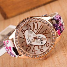Wavors Cheap Hot Sale Watches Vintage Love Pattern PU Leather Rhinestone Analog Quartz Wrist Watch Casual Dress Watches