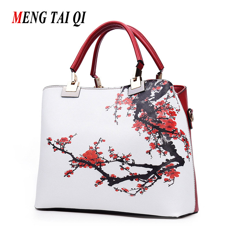 2017 Women Leather Handbags Chinese Style Women Messenger Bags Vintage Ladies Crossbody Shoulder Bag Woman Totes Floral Prints 3<br>