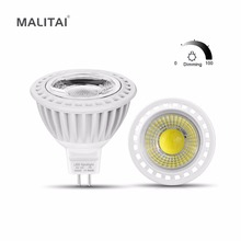 6Pcs/lots MR16 Dimmable Spotlight LED Bulb 3W 5W 7W MR16 LED 12V COB LED Spot light lamp Aluminum AC/DC 12V -24V Indoor lighting