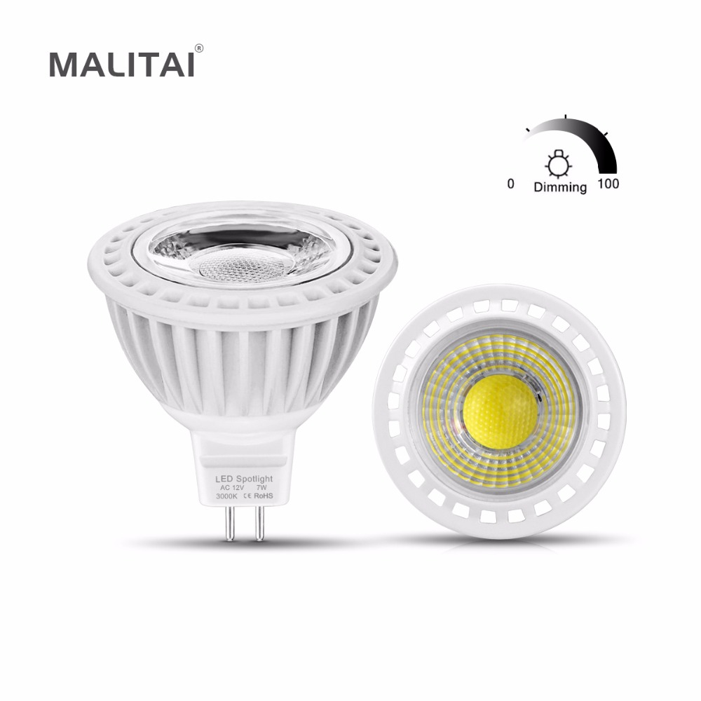 6Pcs/lots MR16 Dimmable Spotlight LED Bulb 3W 5W 7W MR16 LED 12V COB LED Spot light lamp Aluminum AC/DC 12V -24V Indoor lighting(China)