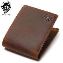 2017 New Crazy Horse Leather Men Wallets Vintage Genuine Leather Wallet For Men Cowboy Top Leather Thin To Put(China)