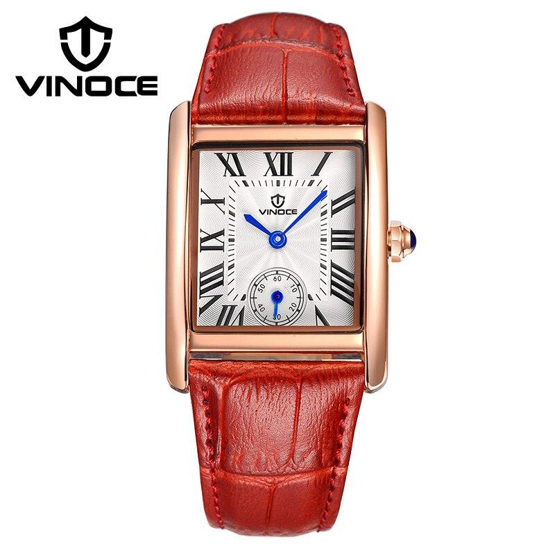 2017 Top Brand Luxury VINOCE Women Watches red black Elegant Ladies Clock Waterproof Quartz Watch Relogio Feminino<br>