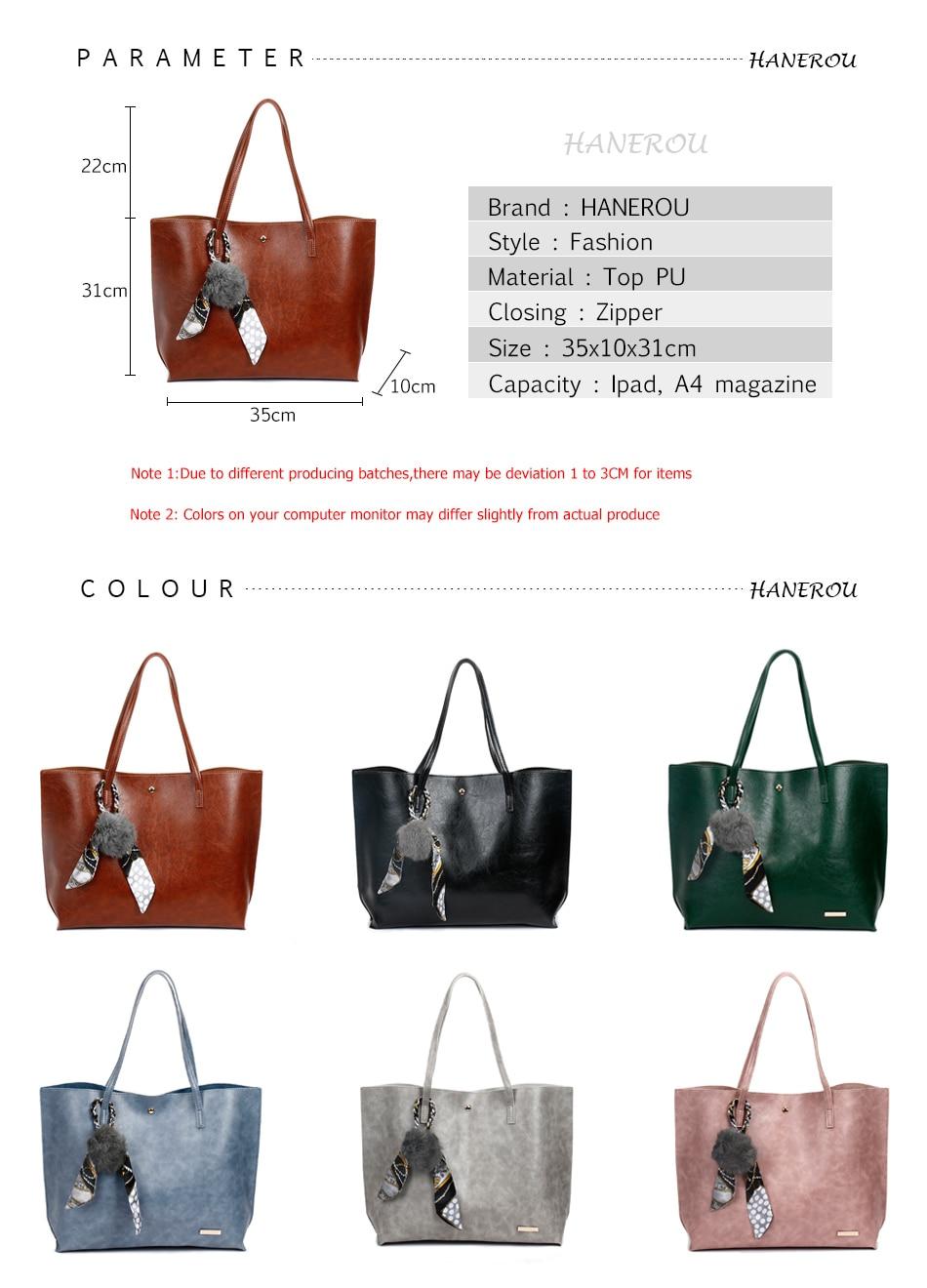 b6e3c7ebfeb0 HANEROU 2018 Fashion Women Bag Ladies Brand Leather Handbags Spring ...