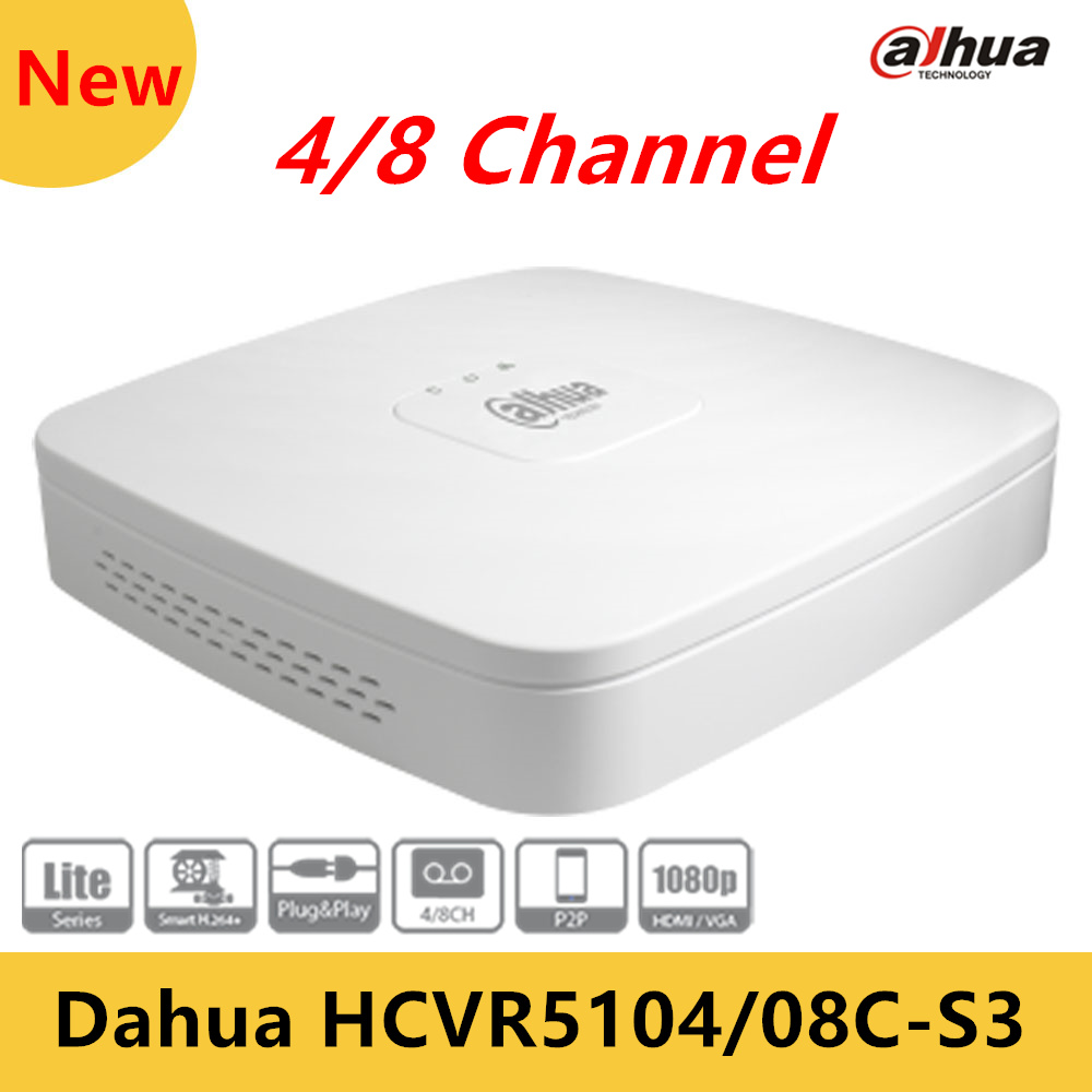 Original Dahua 4/8 Channel Tribrid 1080P Lite Smart 1U Digital Video Recorder HCVR5104C-S3/HCVR5108C-S3 Max 24/48Mbp HDCVI<br><br>Aliexpress