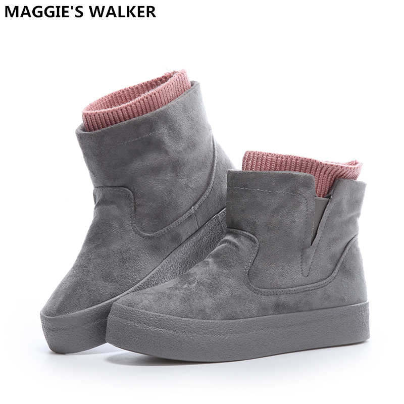 Maggies Walker Womens Fashion Flock Snow Boots High Platform Slip-on Winter Casual Shoes Warm Ankle Boots Size 35-39<br>