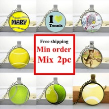 Wholesale Glass Cabochon Dome Jewelry Tennis ball Necklace Tennis ball pendant Round Glass Necklace