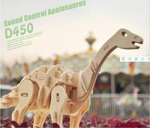 Animatronic dinosaur Robotime DIY 3D Wooden Puzzle Learning Christmas presents for children from education(China)