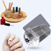 Nail Art Stamper Scraper Set Nails Cap Pure Clear Transparent Silicone Jelly Marshmallow Nail Stamp Scraper Image Plate Tool(China)