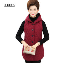 XJXKS Autumn New Fashion Women Vest Coats Single Breasted Comfortable Plus Size Hooded Mother Clothing Long Vests(China)