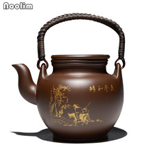 NOOLIM Chinese Purple Clay Tea Pot Kung Fu Zisha Large Capacity With Filter Handle Hand-painted Kettle